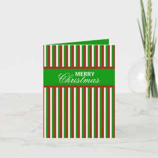 Christmas Stripes green Christmas Note Card card