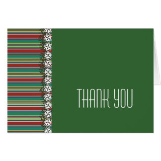 Christmas Stripes Green Holiday Thank You Card