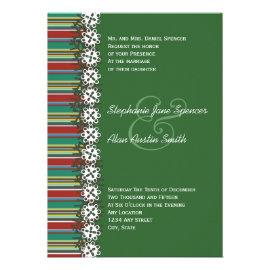 Christmas Stripes Green Holiday Wedding Invitation