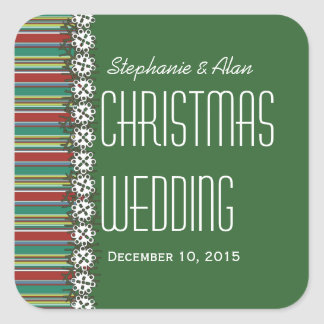 Christmas Stripes Green Holiday Wedding Stickers