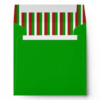 Christmas Stripes green Invitation Envelope envelope