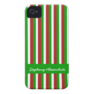 Christmas Stripes green iPhone 4 Barely There Case