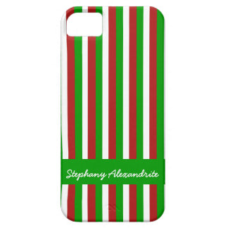 Christmas Stripes green iPhone 5 Barely There Case