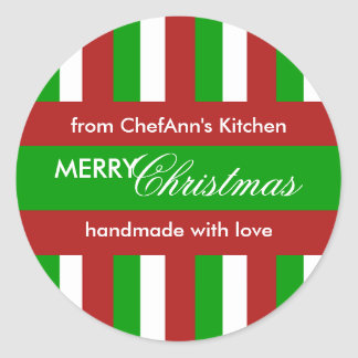 Christmas Stripes green Kitchen Jar Label Classic Round Sticker