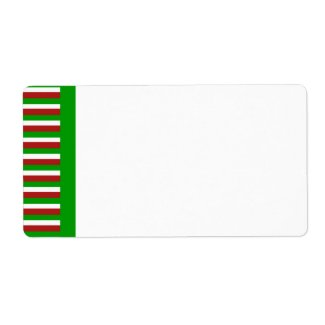 Christmas Stripes green Shipping Label label