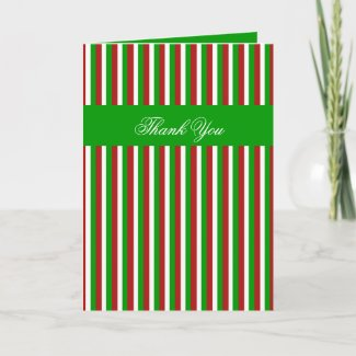 Christmas Stripes green Thank You Card card