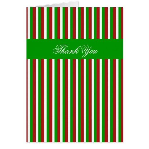 Christmas Stripes green Thank You Card