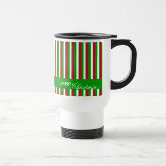 Christmas Stripes green Travel Mug