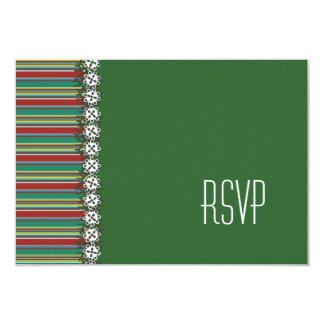 Christmas Stripes Holiday Wedding RSVP Card Personalized Invite