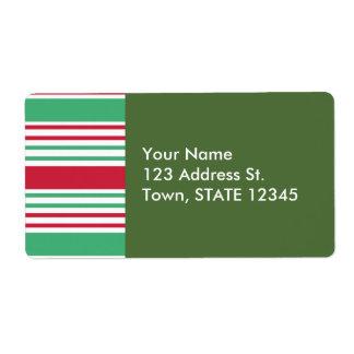 Christmas Stripes Pattern Label