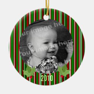 Christmas Stripes Photo Ornament