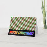 "[ Thumbnail: Christmas Stripes, Rainbow ""Merry Christmas!"" Card ]"