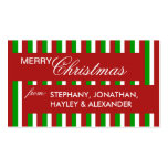 Christmas Stripes red Gift Tag Business Card Template