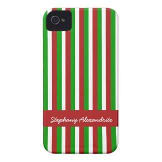 Christmas Stripes red iPhone 4 Barely There Case
