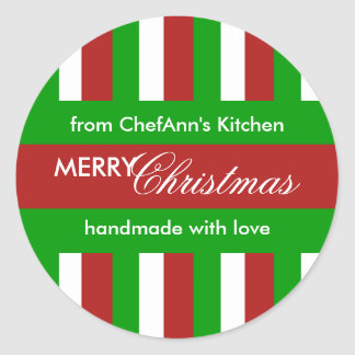 Christmas Stripes red Kitchen Jar Label