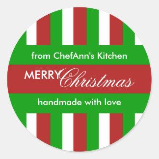 Christmas Stripes red Kitchen Jar Label Classic Round Sticker