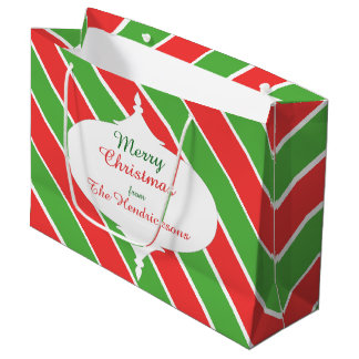Christmas Stripes wide dia large giftbag red/green Large Gift Bag