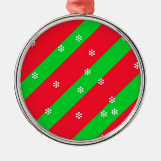 Christmas Stripes with Snowflakes Metal Ornament