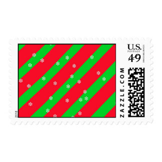 Christmas Stripes with Snowflakes Postage Stamp