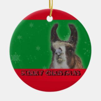 Christmas Stud Llama Happy New Year Ceramic Ornament