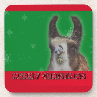 Christmas Stud Llama Happy New Year Coaster
