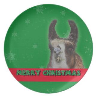 Christmas Stud Llama Happy New Year Dinner Plate