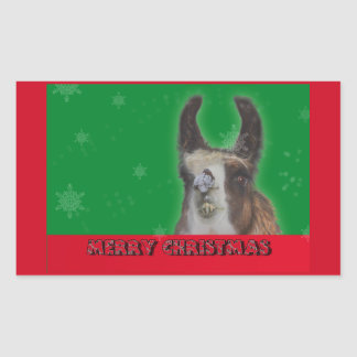 Christmas Stud Llama Happy New Year Rectangle Sticker