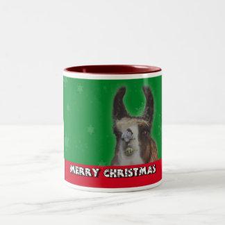 Christmas Stud Llama Happy New Year Two-Tone Coffee Mug