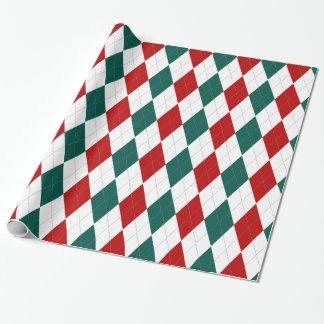 Christmas Style Red Green Argyle Wrapping Paper