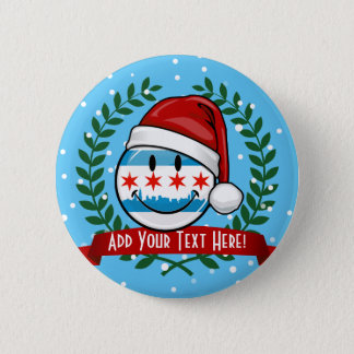 Christmas Style Smiling Chicago Flag Button