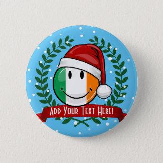 Christmas Style Smiling Irish Flag Button