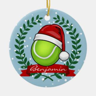 Christmas Style Tennis Ball Ceramic Ornament
