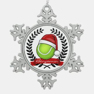 Christmas Style Tennis Ball Snowflake Pewter Christmas Ornament