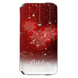 Christmas Stylish Shiny Glitter Sparkles Ornaments iPhone 6/6s Wallet Case