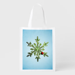 Christmas Stylish Snowy Pine Snowflake Reusable Grocery Bag