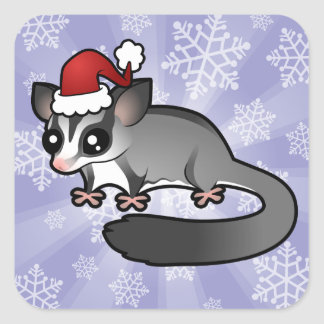 Christmas Sugar Glider Square Sticker