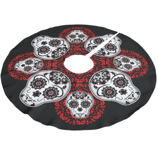 christmas sugar skull day of the dead theme brushed polyester tree skirt - Christmas Sugar Skull