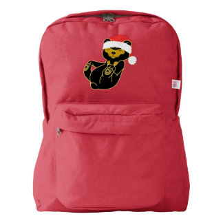 Christmas Sun Bear with Red Santa Hat American Apparel™ Backpack
