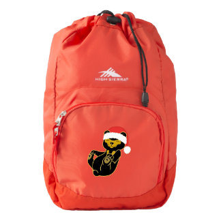 Christmas Sun Bear with Red Santa Hat Backpack