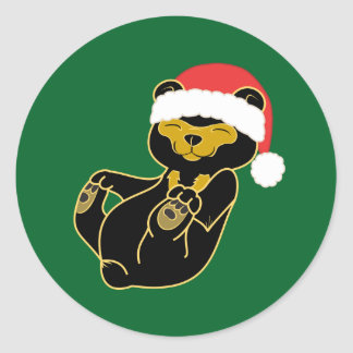 Christmas Sun Bear with Red Santa Hat Classic Round Sticker