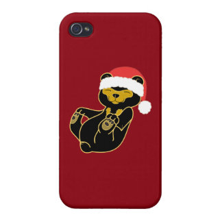 Christmas Sun Bear with Red Santa Hat iPhone 4 Case