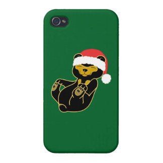 Christmas Sun Bear with Red Santa Hat iPhone 4 Covers