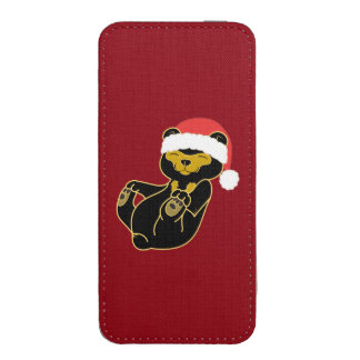 Christmas Sun Bear with Red Santa Hat iPhone 5 Pouch