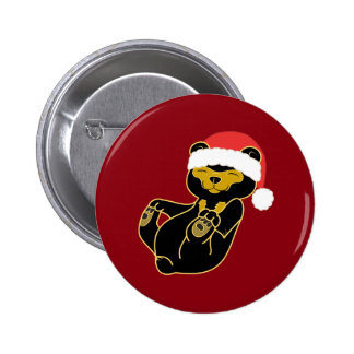 Christmas Sun Bear with Red Santa Hat Pinback Button