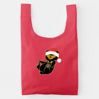 Christmas Sun Bear with Red Santa Hat Reusable Bag