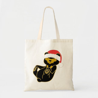 Christmas Sun Bear with Red Santa Hat Tote Bag