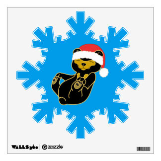 Christmas Sun Bear with Red Santa Hat Wall Decal
