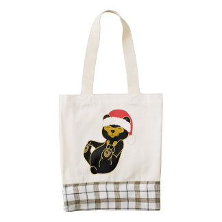 Christmas Sun Bear with Red Santa Hat Zazzle HEART Tote Bag