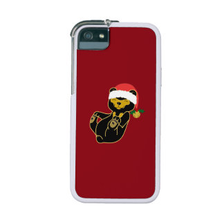 Christmas Sun Bear with Santa Hat & Jingle Bell Cover For iPhone 5