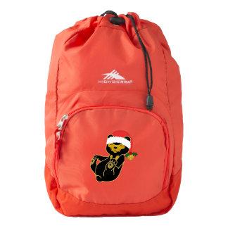 Christmas Sun Bear with Santa Hat & Jingle Bell High Sierra Backpack